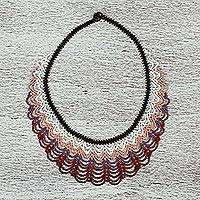 Glass beaded statement necklace, 'Wind and Dunes' - Hand Made Glass Bead Statement Necklace from Mexico