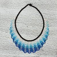 Glass beaded statement necklace, 'Spindrift' - Blue White and Black Beaded Statement Necklace from Mexico