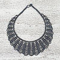 Glass beaded statement necklace, 'Undulating Darkness' - Hand Made Black Glass Beaded Statement Necklace from Mexico