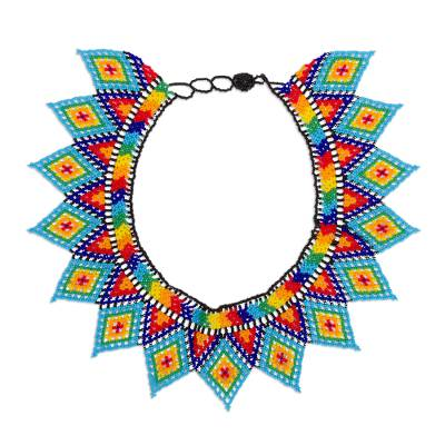Mexican Handmade Multicolored Beaded Statement Necklace
