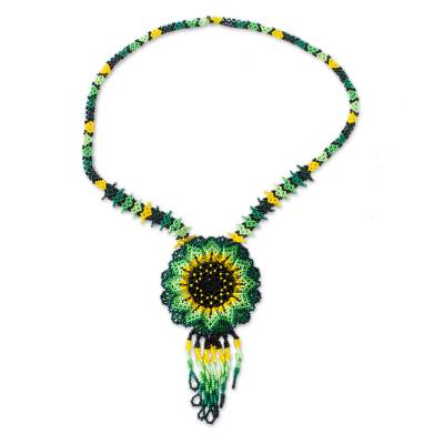 Mexican Artisan Crafted Sunflower Beaded Pendant Necklace