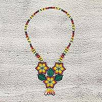 Glass beaded statement necklace, 'Colorful Fields' - Mexican Handcrafted Floral Design Beaded Statement Necklace