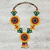 Glass beaded statement necklace, 'Yellow Spring' - Mexican Hand Crafted Beaded Sunflower Statement Necklace