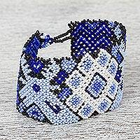 Glass beaded wristband bracelet, 'Mazatl' - Mexican Artisan Crafted Deer Motif Beaded Wristband Bracelet