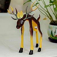 Wood alebrije statuette, 'Reverent Brown Deer' - Alebrije Folk Art Deer Sculpture from Oaxacan Artisans