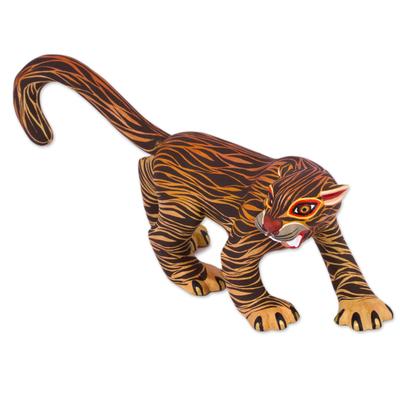 Alebrije wood sculpture, 'Jaguar Protector' - Hand-Painted Alebrije Wood Jaguar Sculpture from Mexico