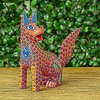 Wood alebrije figurine, 'Loco Lobo' - Multicolored Wolf Alebrije Figurine Handmade in Mexico