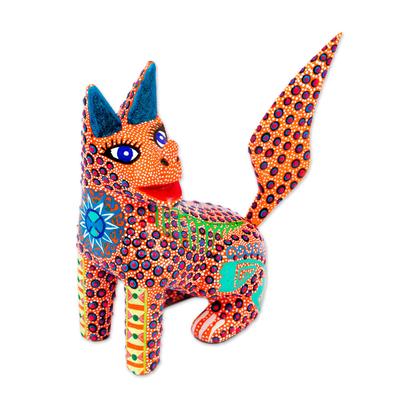 Wood alebrije figurine, 'Loco Lobo' - Multicolored Wolf Alebrije Figurine Handmade in Mexico