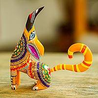 Wood alebrije figurine, 'Howl' - Multi-Color Copal Wood Howling Coyote Alebrije Figurine