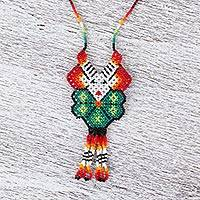 Glass beaded pendant necklace, 'White Deer' - Hand Made Huichol Beaded White Deer Peyote Flower Necklace
