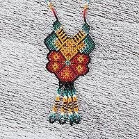 Glass beaded pendant necklace, 'Yellow Deer' - Hand Made Huichol Beaded Yellow Deer Peyote Flower Necklace