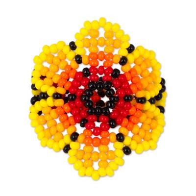 Glass Beaded Floral Cocktail Ring in Yellow from Mexico