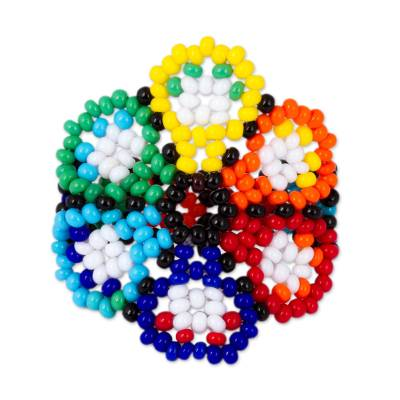 Multicolored Glass Beaded Floral Cocktail Ring from Mexico