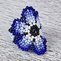 Glass beaded cocktail ring, 'Aqua Flower' - Glass Beaded Floral Cocktail Ring in Blue from Mexico