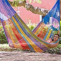 Nylon rope hammock, 'Beach Breeze' (triple) - Hand Crafted Multi-Color Striped Nylon Triple-Sized Hammock