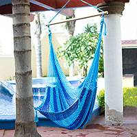 Nylon rope hammock swing, 'Sea Dream' - Hand Crafted Blue Striped Nylon Rope Hammock Swing