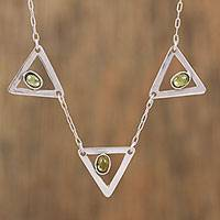 Peridot pendant necklace, 'Triple Triangle' - Sterling Silver and Peridot Pendant Necklace