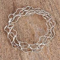 Sterling silver link bracelet, 'Running River' - Sterling Silver Link Bracelet from Mexico
