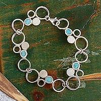 Sterling silver link bracelet, 'Circle Serenity' - Sterling Silver and Reconstituted Link Bracelet