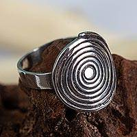 Sterling silver cocktail ring, 'My Universe' - Sterling Silver Cocktail Ring with Spiral Crown
