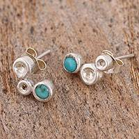 Turquoise stud earrings, 'Silver Bubbles' - Turquoise and Sterling Silver Stud Earrings from Mexico