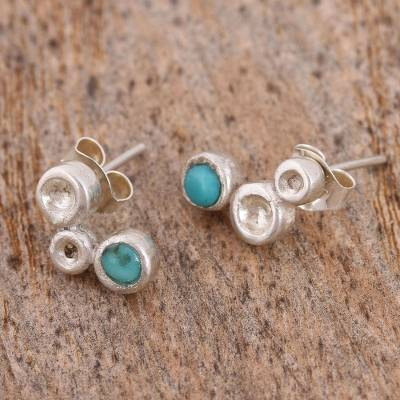 b493fcf0de762 Turquoise and Sterling Silver Stud Earrings from Mexico, 'Silver Bubbles'