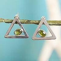 Peridot drop earrings, 'Graceful Triangles' - Sterling Silver and Peridot Triangle Drop Earrings
