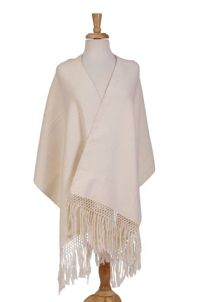 Cotton rebozo, 'Tranquil' - Ivory 100% Cotton Hand Woven Rebozo Fringed Shawl