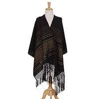 Cotton rebozo, 'Exalted' - Black and Yellow Striped 100% Cotton Hand Woven Rebozo