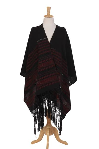 Cotton rebozo, 'Flamenco' - Black and Red Striped 100% Cotton Hand Woven Rebozo