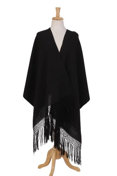 Cotton rebozo, 'Repose' - Black 100% Cotton Hand Woven Rebozo Fringed Shawl