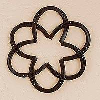 Iron wall sculpture, 'Horseshoe Mandala' - Handcrafted Iron Horseshoe Wall Sculpture from Mexico