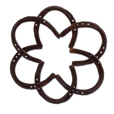 Handcrafted Iron Horseshoe Wall Sculpture from Mexico