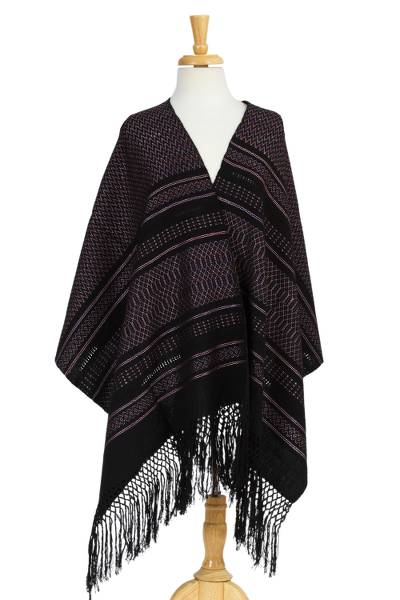 Cotton shawl, 'Elegant Designs' - Handwoven Patterned Cotton Shawl from Mexico