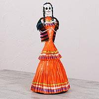 Papier mache and ceramic statuette, 'Catrina in Jalisco Dress' - Handmade Papier Mache and Ceramic Jalisco Catrina Statuette