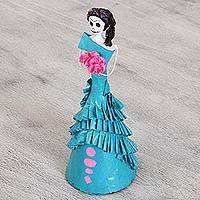 Papier mache and ceramic statuette, 'Catrina in One-Shoulder Gown' - Papier Mache and Ceramic Catrina in Evening Gown Statuette