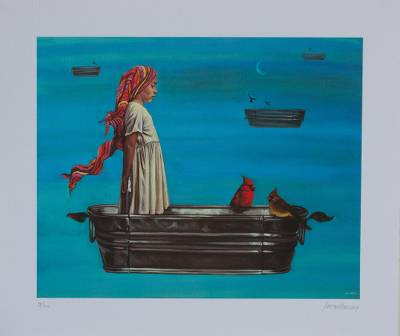 Giclee print on canvas, 'Cardinal Passage' - Signed Giclee Print of a Girl with Cardinals from Mexico