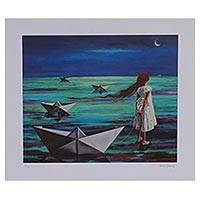 Giclee print on canvas, 'Never-Ending Flight' - Signed Giclee Print of a Girl with Paper Boats from Mexico