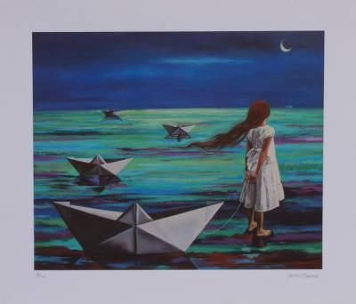 Limited Ed Giclee Of A Girl With Paper Boats From Mexico Never
