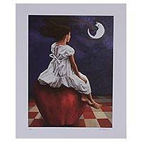 Giclee print on canvas, 'Blue Thought III' - Signed Surrealist Giclee Print from Mexico