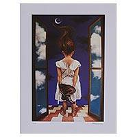 Giclee print on canvas, 'Imaginary Instant' - Signed Surrealist Giclee Print by a Mexican Artist