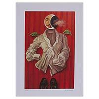 Giclee print on canvas, 'Night' - Signed Night-Themed Surrealist Giclee Print from Mexico