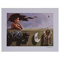 Giclee print on canvas, 'An Encounter, A Charm' - Signed Creative Surrealist Giclee Print from Mexico