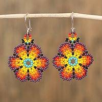 Glass beaded dangle earrings, 'Flowers of Color' - Glass Beaded Floral Dangle Earrings from Mexico