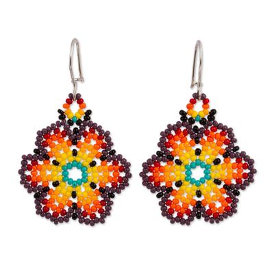 Glass beaded dangle earrings, 'Flowers of Color' - Glass Beaded Floral Dangle Earrings from Mexico
