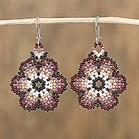 Glass beaded dangle earrings, 'Resilient Flowers' - Handcrafted Glass Beaded Floral Dangle Earrings from Mexico