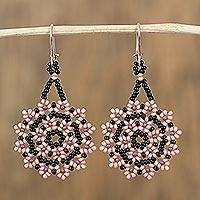 Glass beaded dangle earrings, 'Sweet Star Flowers' - Glass Beaded Floral Dangle Earrings from Mexico