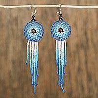 Glass beaded waterfall earrings, 'Foam of the Sea' - Glass Beaded Waterfall Earrings in Blue from Mexico