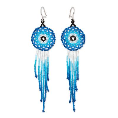 Glass beaded waterfall earrings, 'Foam of the Sea' - Glass Beaded Waterfall Earrings in Blue from Mexico