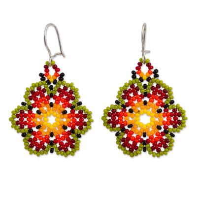 Glass beaded dangle earrings, 'Flowers of Happiness' - Artisan Crafted Floral Glass Beaded Earrings from Mexico